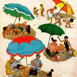 """""""Couples at the beach"""", August 2, 1952 by George Hughes"""