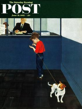 """""""Dog License"""" Saturday Evening Post Cover, June 21, 1952 by George Hughes"""