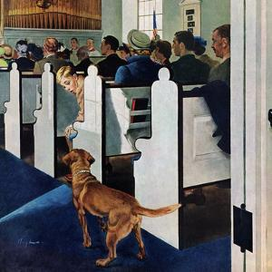 """Dog Walks Down Aisle of Church"", March 24, 1956 by George Hughes"