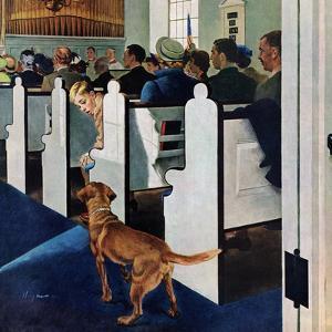 """Dog Walks Down Aisle of Church"", March 24, 1956 by George Hughes"