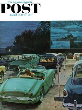 """""""Drive-In Movies,"""" Saturday Evening Post Cover, August 19, 1961 by George Hughes"""