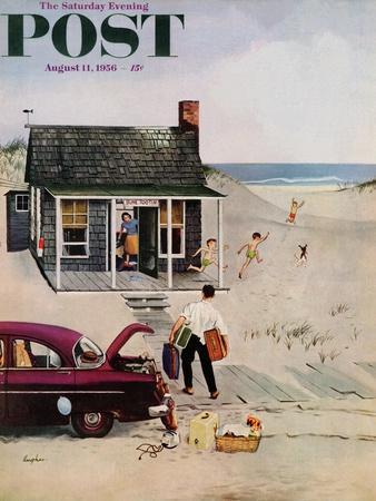 """""""First Day at the Beach"""" Saturday Evening Post Cover, August 11, 1956"""