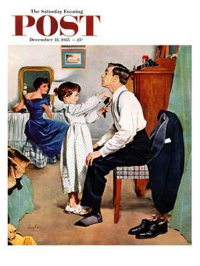 """""""Fixing Father's Tie"""" Saturday Evening Post Cover, December 31, 1955 by George Hughes"""