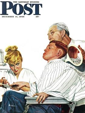 """""""Haircut and Manicure,"""" Saturday Evening Post Cover, December 11, 1948 by George Hughes"""