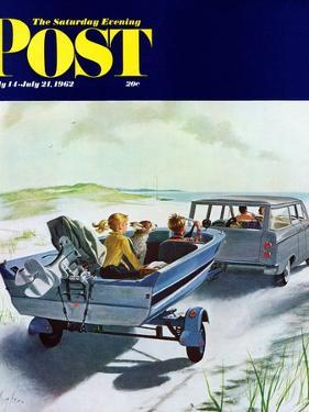 """Highway Boatride,"" Saturday Evening Post Cover, July 14, 1962 by George Hughes"