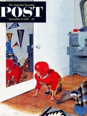 """""""Home Football"""" Saturday Evening Post Cover, November 17, 1951 by George Hughes"""