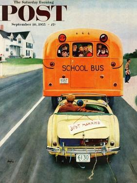 """""""Just Married"""" Saturday Evening Post Cover, September 10, 1955 by George Hughes"""