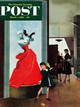 """""""Mannequin"""" Saturday Evening Post Cover, March 1, 1952 by George Hughes"""