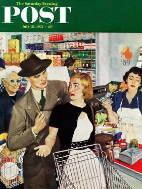 """More Money, Honey"" Saturday Evening Post Cover, July 21, 1951 by George Hughes"