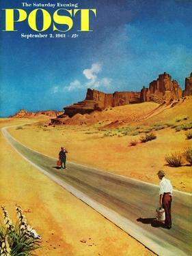 """""""Out of Gas,"""" Saturday Evening Post Cover, September 2, 1961 by George Hughes"""
