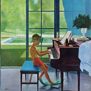 """Poolside Piano Practice,"" June 11, 1960 by George Hughes"