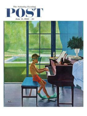 """""""Poolside Piano Practice,"""" Saturday Evening Post Cover, June 11, 1960 by George Hughes"""