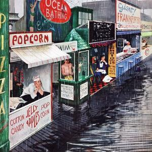 """Rain on the Boardwalk"", July 2, 1955 by George Hughes"