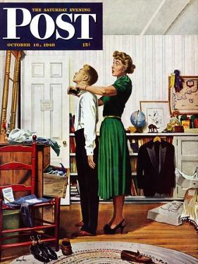 """""""Readying for First Date,"""" Saturday Evening Post Cover, October 16, 1948 by George Hughes"""