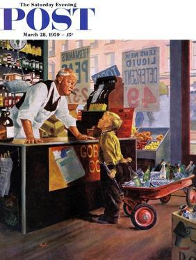 """""""Returning Bottles for Refund"""" Saturday Evening Post Cover, March 28, 1959 by George Hughes"""