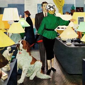 """St. Bernard in Lamp Shop"", October 25, 1952 by George Hughes"
