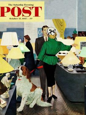 """""""St. Bernard in Lamp Shop"""" Saturday Evening Post Cover, October 25, 1952 by George Hughes"""