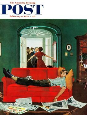 """""""Sunday Visitors"""" Saturday Evening Post Cover, February 6, 1954 by George Hughes"""