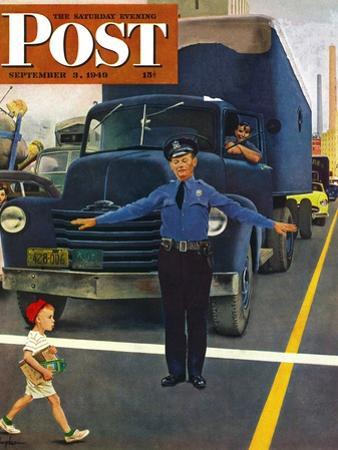 """""""Traffic Cop,"""" Saturday Evening Post Cover, September 3, 1949 by George Hughes"""