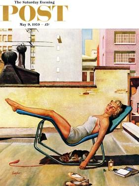 """Up On the Roof"" Saturday Evening Post Cover, May 9, 1959 by George Hughes"