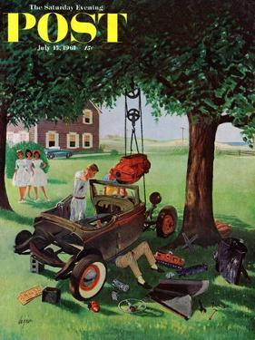 """Working on the Jalopy,"" Saturday Evening Post Cover, July 15, 1961 by George Hughes"