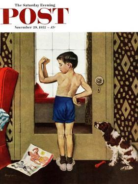 """Young Charles Atlas"" Saturday Evening Post Cover, November 29, 1952 by George Hughes"