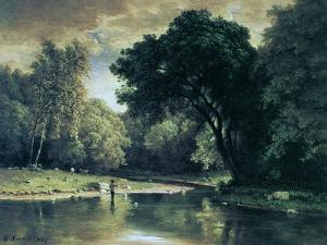 Fishing in a Stream, 1857 by George Inness