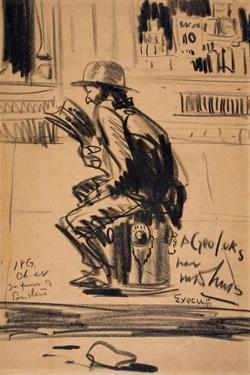 Untitled - Man Seated on a Fire Hydrant by George Luks