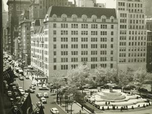 Busy Street at Plaza Hotel, New York City, (Elevated View) by George Marks