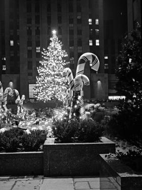 Christmas Tree in Front of Rockefeller Centre at Night, New York City by George Marks