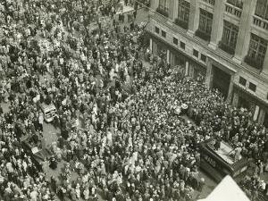 Crowd of People on Street, News Media Broadcasting, (Aerial View) by George Marks