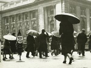 Pedestrians Walking in Rain in New York City by George Marks