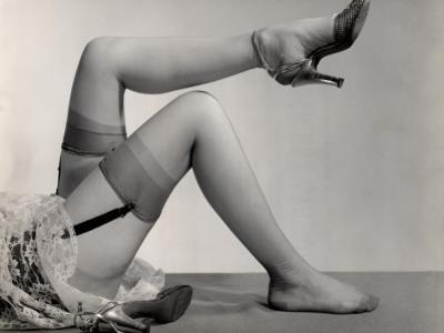 Woman's Nylon Stocking Legs With Garters and Heels by George Marks