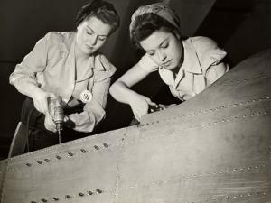 Women Working on WWII Aircraft Assembly by George Marks
