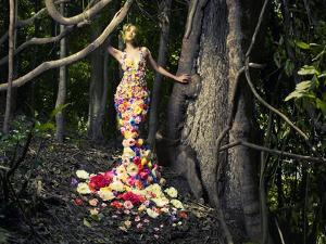 Blooming Gorgeous Lady In A Dress Of Flowers In The Rainforest by George Mayer
