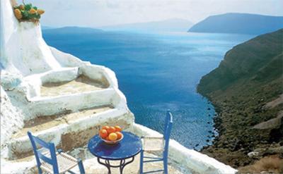 Oranges on Blue Table by George Meis