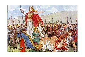 Boudicca with Her Two Daughters by George Morrow