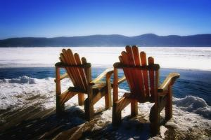 Adirondack Chairs on the Deck by George Oze