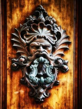Angry Man Face Door Knocker in Florence by George Oze
