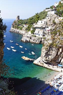 Beach in a Cove, Praiano, Amalfi Coast, Italy by George Oze