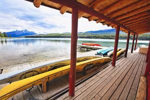 Boathouse, Maligne Lake, Canada by George Oze