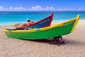 Brightly Painetd Boats, Puerto Rico by George Oze