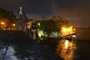 City Walls and Gate at Night, San Juan, PR by George Oze