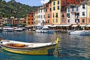 Classic Boat in Portofino Harbor, Liguria, Italy by George Oze