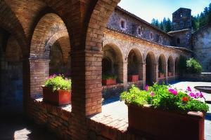 Colonnade Of An Old World Castle In Napa Valley by George Oze