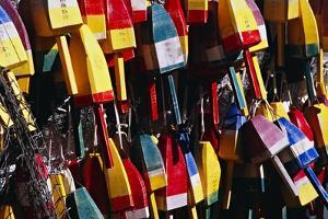 Colorful Lobster Buoys in Maine by George Oze
