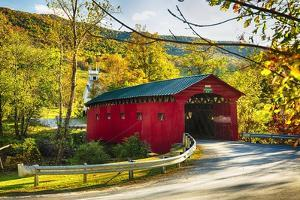 Covered Bridge In The Green Mountains, Vermont by George Oze