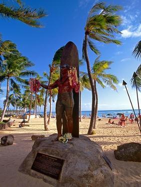 Duke Kahanamoku's Statue on Waikiki Beach by George Oze