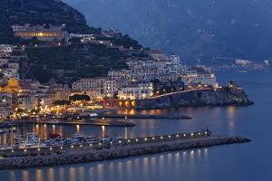 High Angle View of Amalfi at Night, Campania, Italy by George Oze
