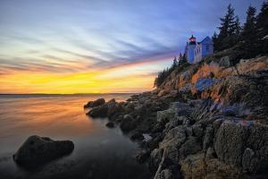 Lighthouse on a Cliff at Sunset, Bass Harbor, ME by George Oze